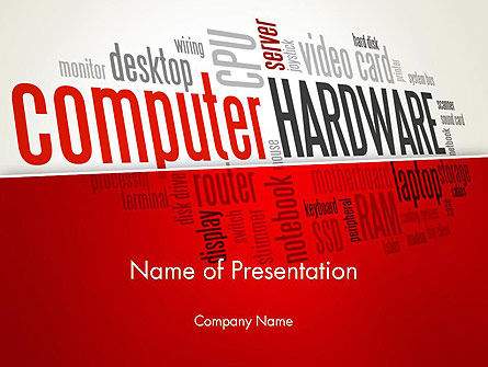 Computer Hardware Word Cloud PowerPoint Template, 13429, Computers — PoweredTemplate.com