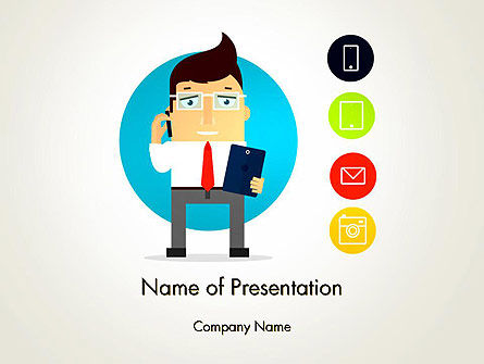 Businessman and App Icons PowerPoint Template