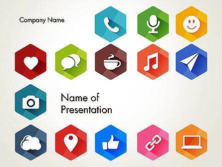 Flat Social Media Icons PowerPoint Template