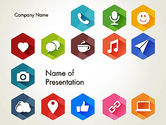 Careers/Industry: Flat Social Media Icons PowerPoint Template #13459