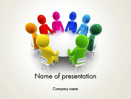3D: Discussion on a Round Table Meeting PowerPoint Template #13466