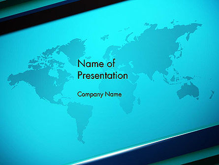 Turquoise World Map PowerPoint Template