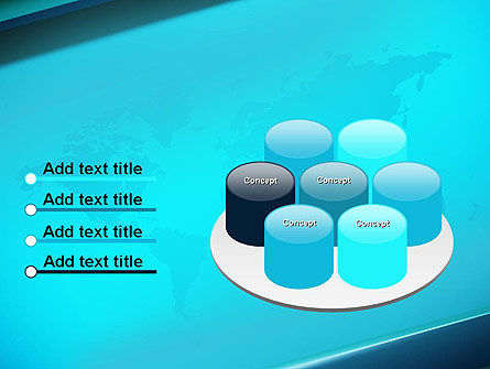 Turquoise World Map PowerPoint Template Slide 12