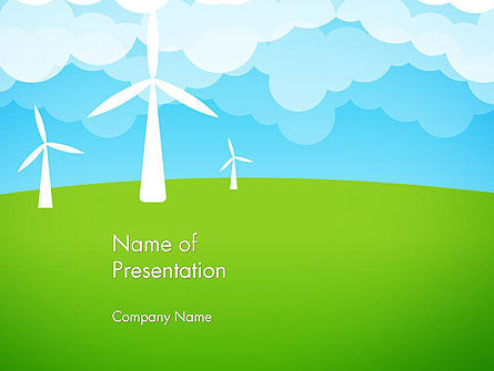 Wind Farm Illustrative PowerPoint Template, 13481, Nature & Environment — PoweredTemplate.com
