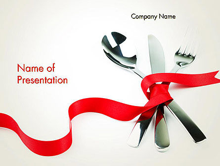 Fork Knife and Spoon Tied Up With Red Ribbon PowerPoint Template