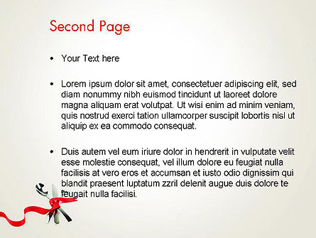 Fork Knife and Spoon Tied Up With Red Ribbon PowerPoint Template Slide 2