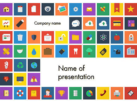 Careers/Industry: Scattering of Flat Design Icons PowerPoint Template #13490