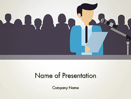 People: Politician Talking to Crowd PowerPoint Template #13503
