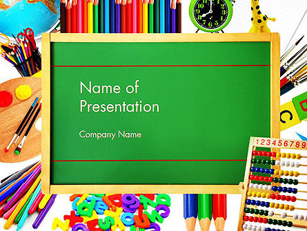Education & Training: School Supplies Border PowerPoint Template #13519