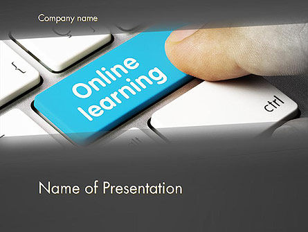 Online Learning Keyboard PowerPoint Template, 13535, Education & Training — PoweredTemplate.com