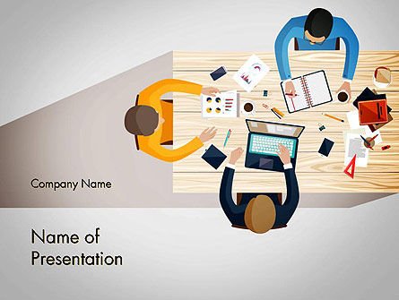 People: Brainstorming at Business Meeting PowerPoint Template #13549