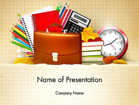 Back to School with School Supplies PowerPoint Template, 13555, Education & Training — PoweredTemplate.com