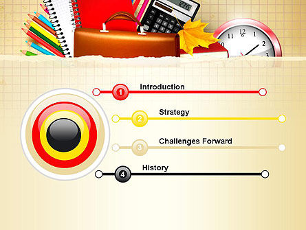 Back to School with School Supplies PowerPoint Template, Slide 3, 13555, Education & Training — PoweredTemplate.com