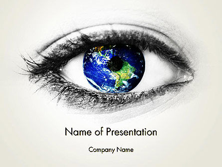 Global: Globe in an Eye PowerPoint Template #13558