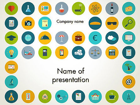 Flat Design Round Icons PowerPoint Template