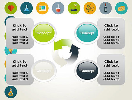 Flat Design Round Icons PowerPoint Template Slide 9