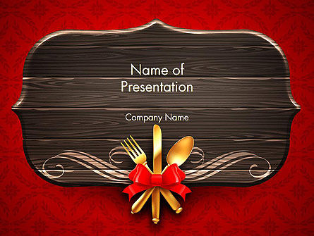 Gold Flatware Restaurant Presentation PowerPoint Template