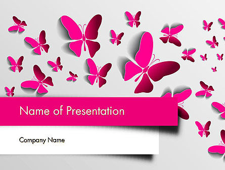 Holiday/Special Occasion: Pink Butterflies PowerPoint Template #13571