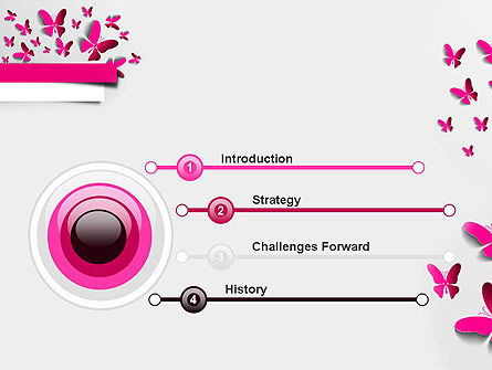 Pink Butterflies PowerPoint Template Slide 3
