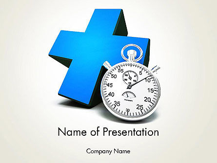 Consulting: Blue Medical Cross and Stopwatch PowerPoint Template #13572