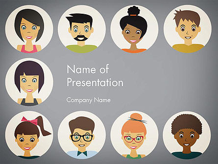 Colored People Avatars PowerPoint Template