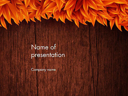 Wood Surface with Yellow Autumn Leaves PowerPoint Template, 13582, Nature & Environment — PoweredTemplate.com