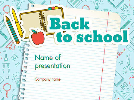 Back to School of Notebook Sheet PowerPoint Template, 13594, Education & Training — PoweredTemplate.com