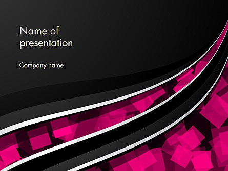 Transparent Wave with Pink Cubes PowerPoint Template
