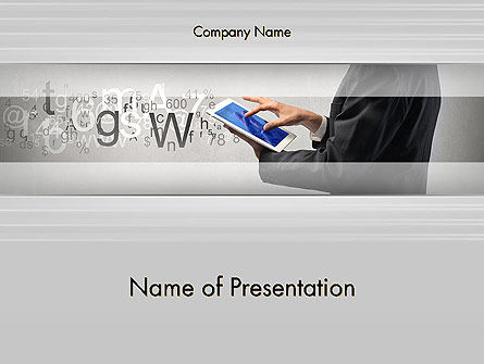 Businessman Working with Touchpad PowerPoint Template