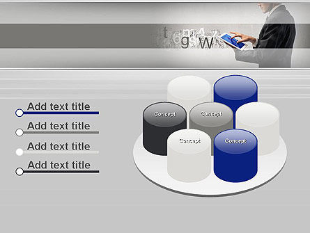 Businessman Working with Touchpad PowerPoint Template Slide 12