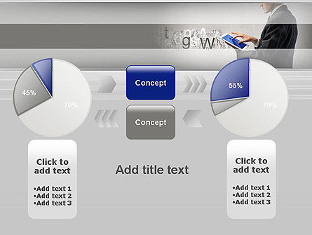 Businessman Working with Touchpad PowerPoint Template Slide 16
