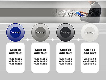 Businessman Working with Touchpad PowerPoint Template Slide 5