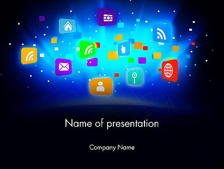 Technology and Science: Mobile Application Icons PowerPoint Template #13619