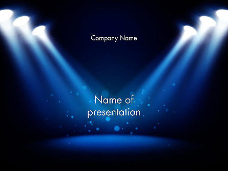 Illuminated Stage with Blue Scenic Lights PowerPoint Template