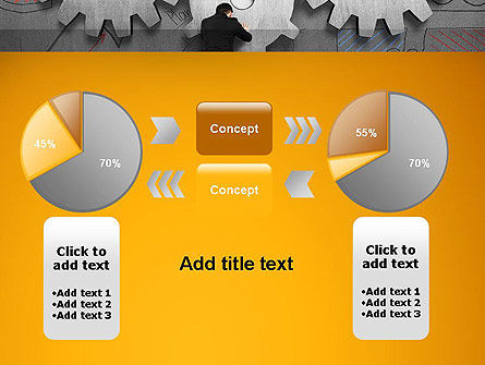 Man Pushing Gear to Connect Other Two PowerPoint Template Slide 16