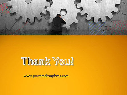 Man Pushing Gear to Connect Other Two PowerPoint Template Slide 20