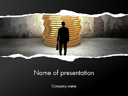 Financial/Accounting: Businessman Standing in Front of Stack of Coins PowerPoint Template #13629