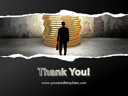 Businessman Standing in Front of Stack of Coins PowerPoint Template Slide 20