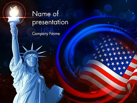 American Flag and Statue of Liberty PowerPoint Template, 13633, America — PoweredTemplate.com
