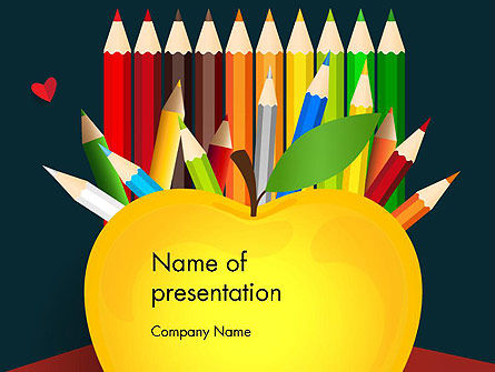 Knowledge Apple and Colored Pencils PowerPoint Template, 13650, Education & Training — PoweredTemplate.com
