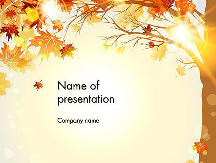 Nature & Environment: Yellow Leaves in the Sunset PowerPoint Template #13652