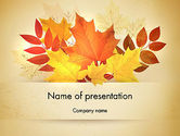 Nature & Environment: Bunch of Autumn Leaves PowerPoint Template #13658