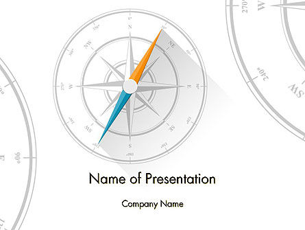 Compass on Wind Rose PowerPoint Template