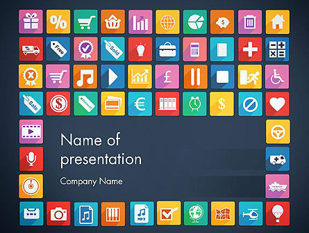 Business Concepts: Grid Designed Flat Icons PowerPoint Template #13670