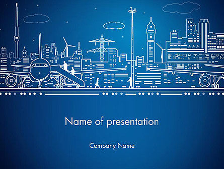 Airport Panorama PowerPoint Template, 13674, Cars and Transportation — PoweredTemplate.com