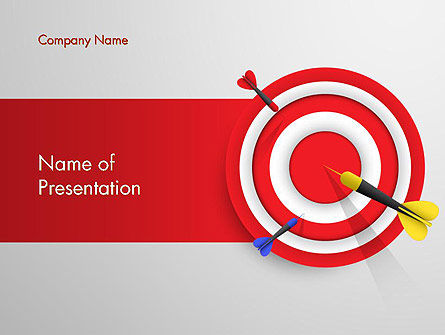 red bullseye target powerpoint template, backgrounds | 13690, Modern powerpoint