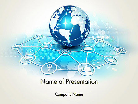 Globe and Communication PowerPoint Template, 13708, Telecommunication — PoweredTemplate.com