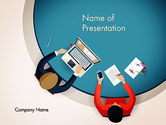 Business Concepts: Meeting Top View Flat Design PowerPoint Template #13718