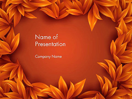 Orange Leaves Frame PowerPoint Template