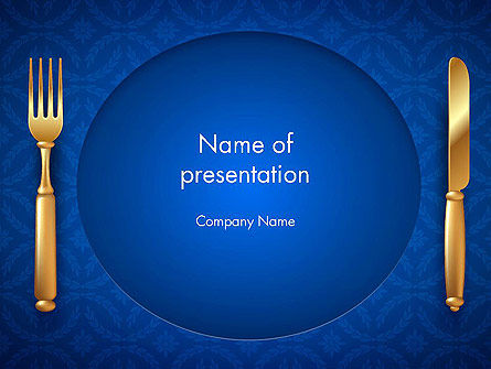 Gold Fork and Knife on Blue Cloth PowerPoint Template